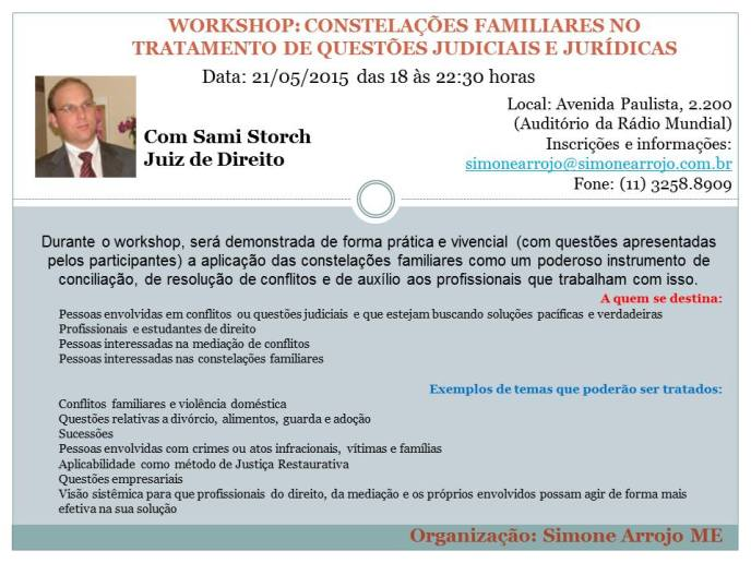 Constelações em questões judiciais e jurídicas - com Simone - maio 2015 - banner