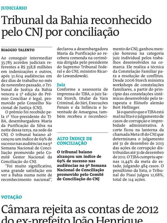 Reportagem do jornal A Tarde (edição de 02/07/2015)