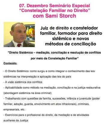 Cartaz grande Sami em SP - Hellinger Sciencia
